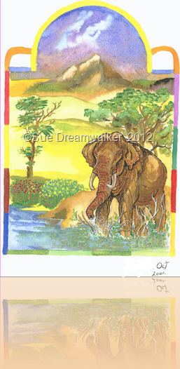 ELEPHANT Pinting in water colour
