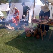 These People were showing us their medieval cooking skills, they were baking, bread, and cooking chicken, and Rhubarb stew on the wood fire ...along with many other tasty meals.