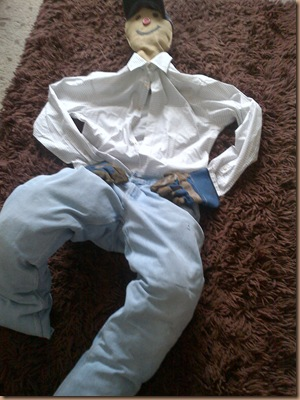 Scarecrow his legs are now taking shape
