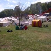 In the heart of Sherwood Forest, the Medieval Market Show May 6th 2013 An array of tents showing crafted items in wood and leather. Also display tents of Medieval cooking, and weaponry,