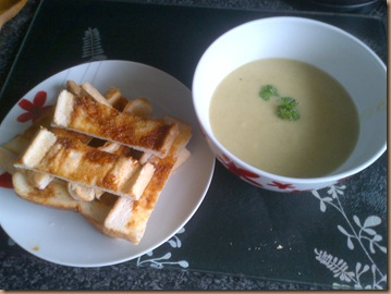 Broccoli Stalk Soup and toast