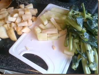 chopped stalks and potatos