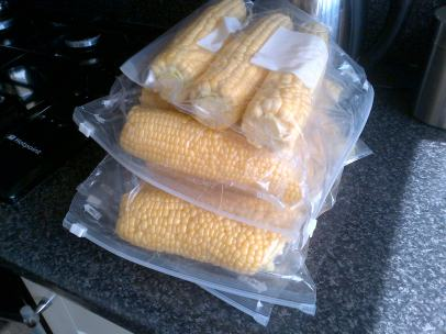Freezing the sweetcorn from the allotments.