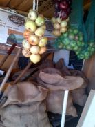 5 sacks of potatoes, onions and Apples in store