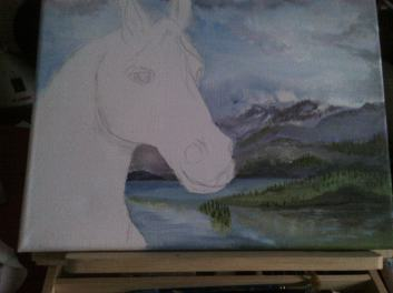 Horse on Canvas painting in Acrylic