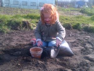 Helping Granddad is another of Natures little Angels.. now 3 our Granddaughter is never happier than digging in the Earth..