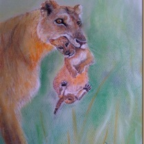 Lioness and Cub in pastel