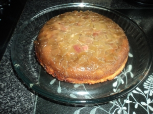 Rhubarb Upside Down Cake... Delicious with Custard.