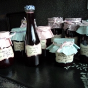 Blackberry Jam, There were 12 jars but gave some away.. Also a bottle of Elderberry syrup I made.