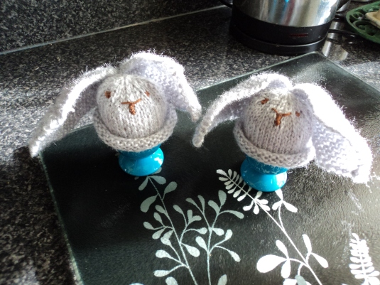 Egg Cosy's -Rabbits  to keep my boiled egg warm in the mornings