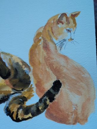 Watercolour Sitting Cat