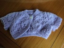 I knitted this little Bolero too which is for a 3 to 6 mth old. It didn't take long to make.