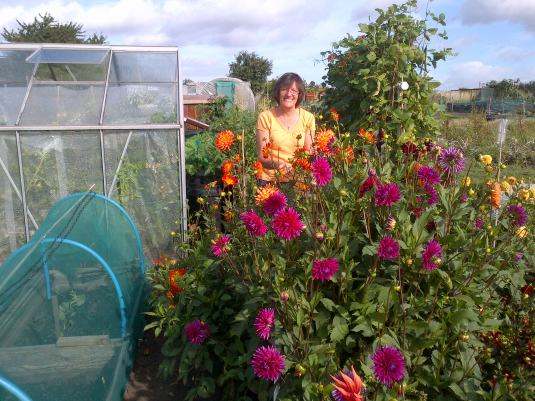 Smiling among the Dahlia's.