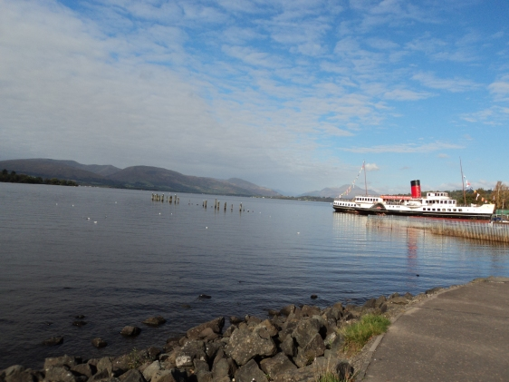 Edge of Loch Lomand and the Maid of the Loch Paddle Steamer