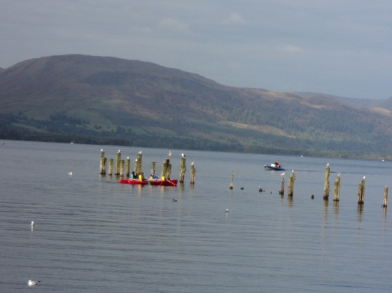 We watched a family use their own peddle power out into the loch on this beautiful day.