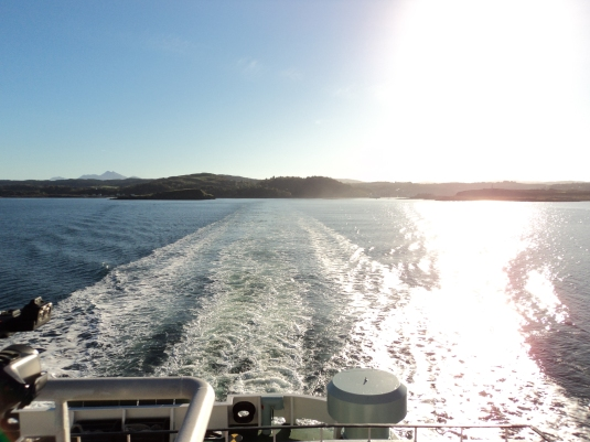 Full Steam ahead as we look back to the mainland of Oban Scotland